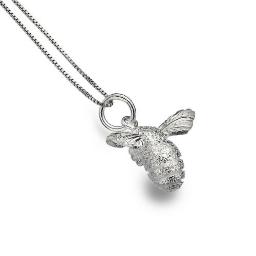 Bumble Bee Pendant Solid Silver Necklace and Chain